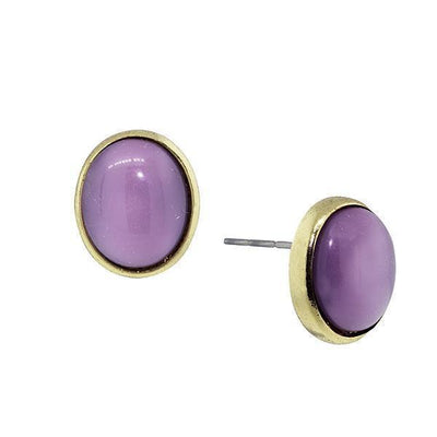 Gold-Tone Amethyst Purple Oval Post Button Earrings