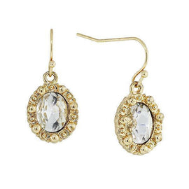 Gold-Tone Crystal Petite Oval Drop Earrings