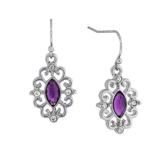 Silver-Tone Amethyst Purple with Crystal Navette Drop Earrings
