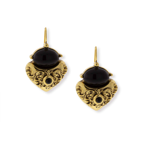 Gold-Tone Black Corinthian Sculpted Heart Drop Earrings