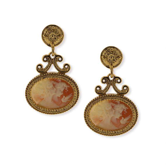 Gold-Tone Carnelian Color Cameo Twin Muse Drop Earrings