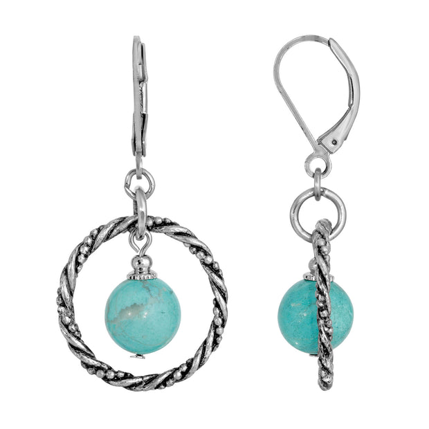 1928 Jewelry Silver Tone Genuine Turquoise Stone Round Stone Hoop Earring