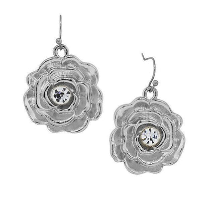Silver Tone Crystal Accent Flower Drop Earrings