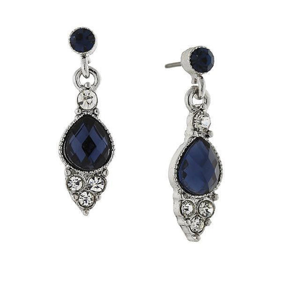 Silver Tone Blue and Crystal Pearshape Drop Earrings