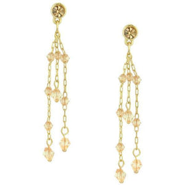 Fashion Jewelry - Gold Tone Peach and Light Brown Linear Drop Earrings