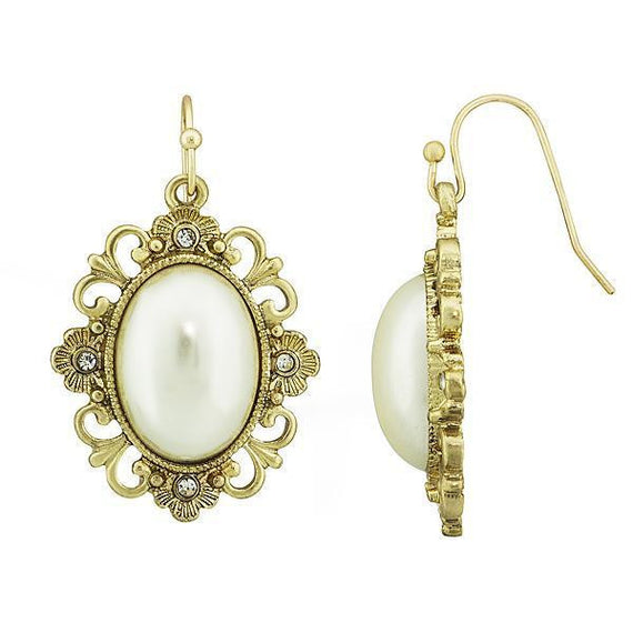 Fashion Jewelry - Gold Tone Simulated Pearl Oval Drop Earrings