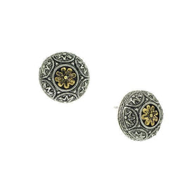 Alcazar Round Floral Button Earrings