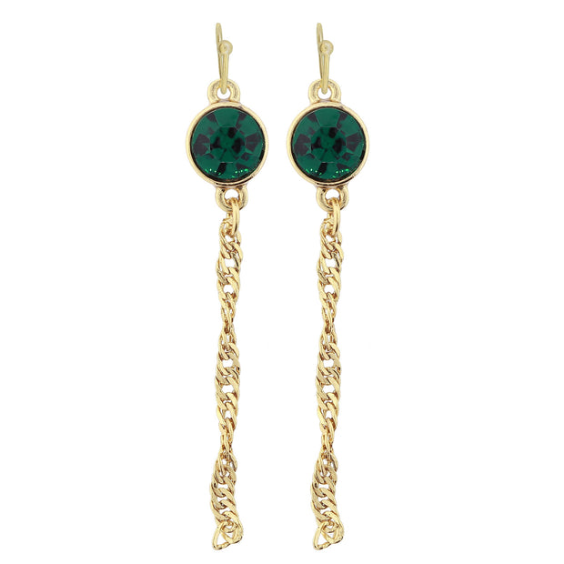 Gold Tone Crystal Chain Drop Wire Earrings Green