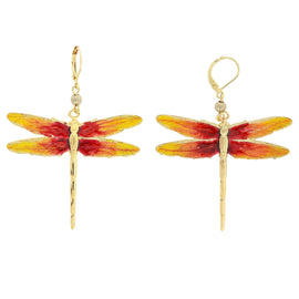 Gold Tone Orange and Gold Enamel Dragonfly drop Earrings