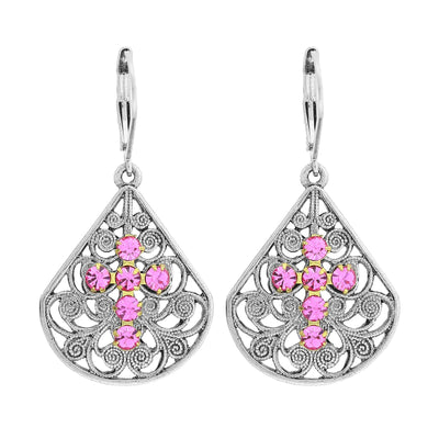 Pink Pewter Fan Crystal Cross Earrings