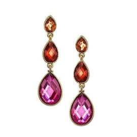 Gold-Tone Fuchsia , Orange, and Topaz Multi Pearshape Drop Earrings