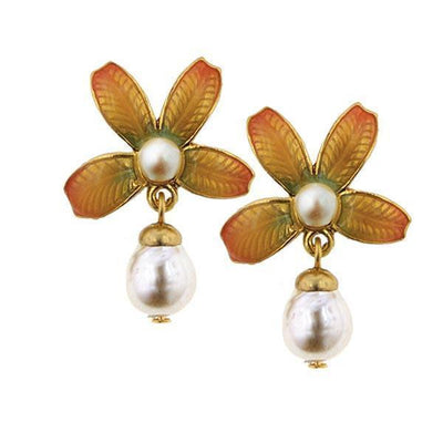 Natura  Ombre Enamel Floral With Baroque Costume Pearl Drop Earrings