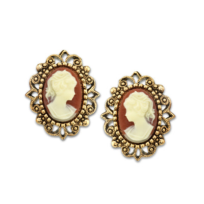 Gold Tone Faux Cameo Post Earrings