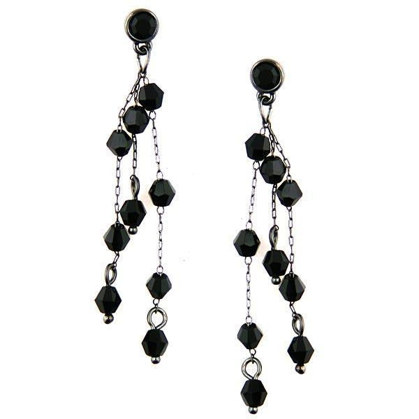 Dainty Chain Hematite Tone with Jet Crystals Long Earrings