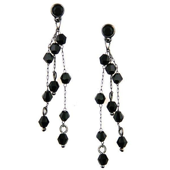 Fashion Jewelry - Dainty Chain Hematite Tone with Jet Crystals Long Earrings