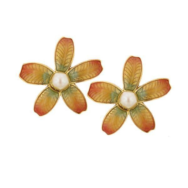 Natura  Ombre Enamel Floral With Costume Pearl Accent Earrings