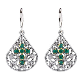 Pewter Brass Filigree Emerald Green Crystal Flower Teardrop Leverback Earring