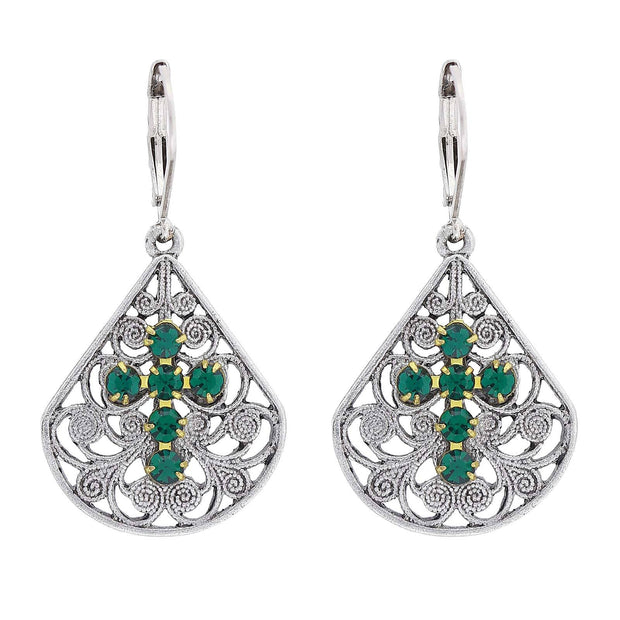 Pewter Brass Filigree Crystal Cross Teardrop Lever Back Earring Green