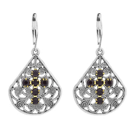 Pewter Brass Filigree Black Crystal Flower Teardrop Earring