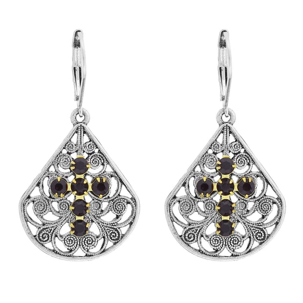 1928 Jewelry Pewter Fan Swarovski Crystal Element Cross Earrings