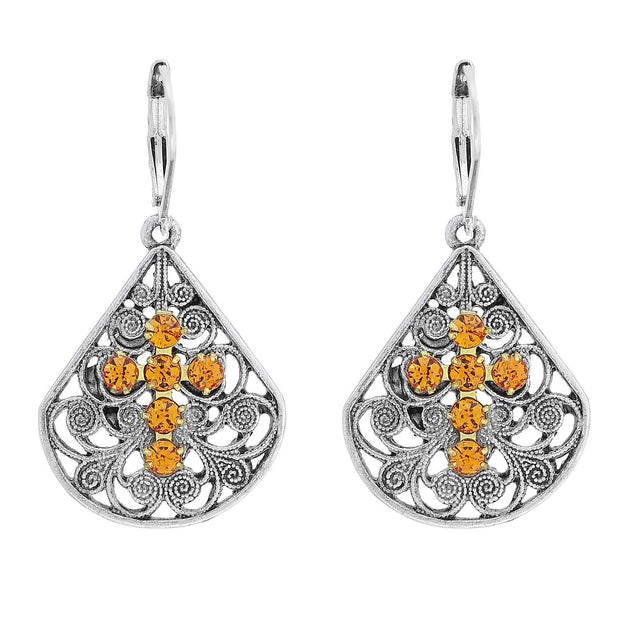 Pewter Brass Filigree Crystal Cross Teardrop Lever Back Earring Yellow