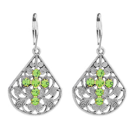 Pewter Brass Filigree Lt Green Crystal Flower Teardrop Leverback Earring