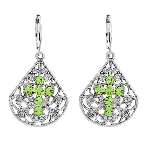Pewter Brass Filigree Crystal Cross Teardrop Lever Back Earring Light Green