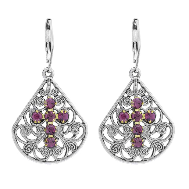 Pewter Brass Filigree Crystal Cross Teardrop Lever Back Earring Purple
