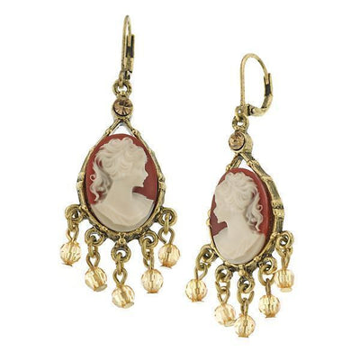 Brass Cameo Costume Pearl Earrings
