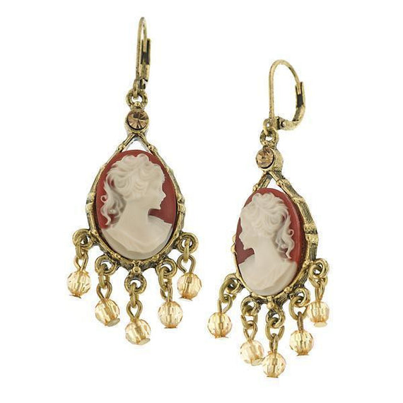 Brass Cameo Simulated Pearl Earrings