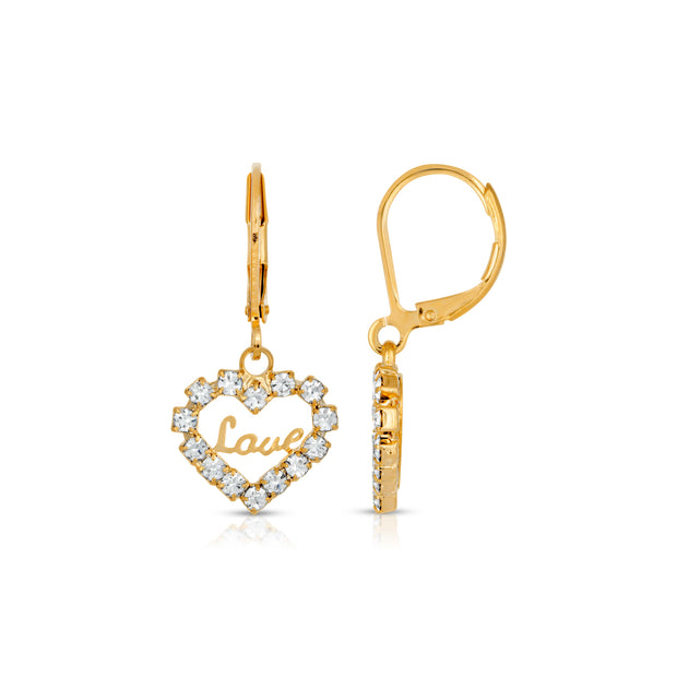 14K Gold-Dipped Crystal Accented Love Heart Earrings