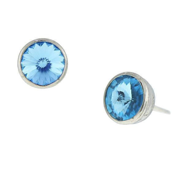 Silver Tone Aqua Swarovski Stud Earrings