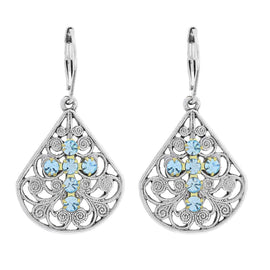 Pewter Brass Filigree Aqua Blue Crystal Cross Teardrop Leverback Earring
