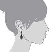 1928 Jewelry Black-Tone Black Rectangle Crystal Drop Earrings