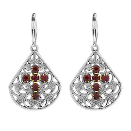 Pewter Brass Filigree Red Crystal Cross Teardrop Leverback Earring