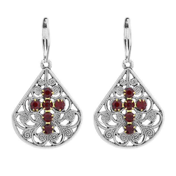 Pewter Brass Filigree Crystal Cross Teardrop Lever Back Earring Red