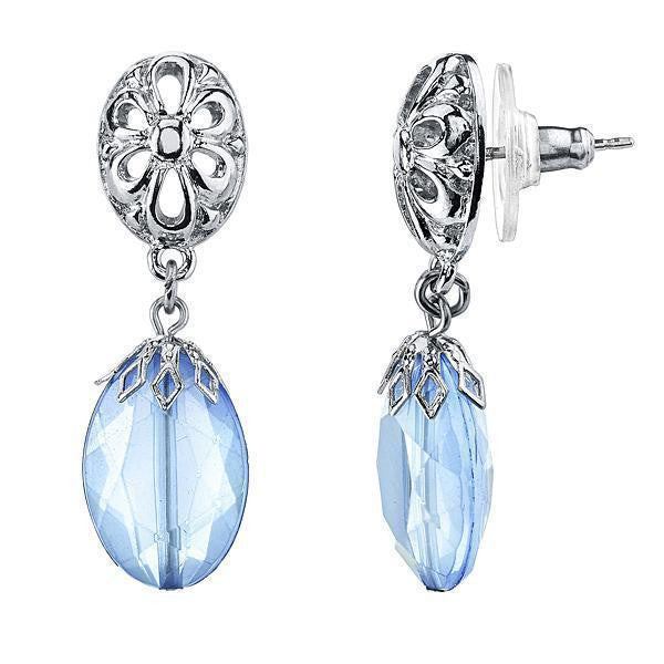 Silver-Tone Blue And Filigree Accent Drop Earrings