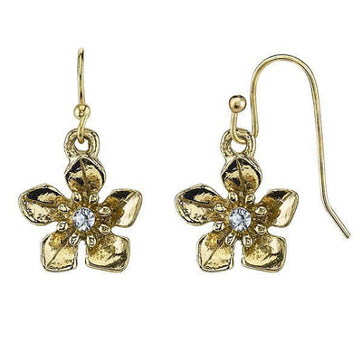 Gold Tone Crystal Flower Drop Earrings