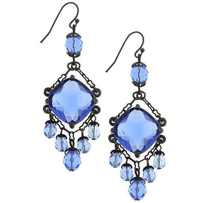 Black Tone Blue Chandelier Wire Drop Earrings