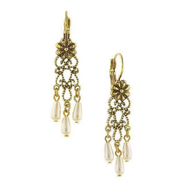 Gold-Tone Simulated Pearl Reza Trio Drop Leverback Earrings