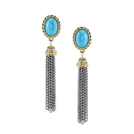 Silver-Tone Turquoise w/ Gold-Tone Accent Tassel Earrings