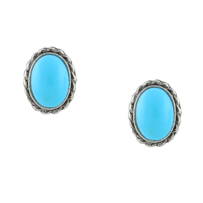 Silver-Tone Turquoise Oval Button Earrings