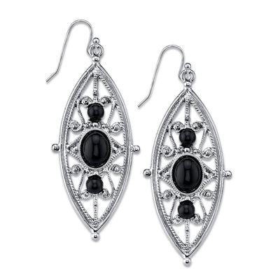 Silver Tone Black Filigree Drop Earrings