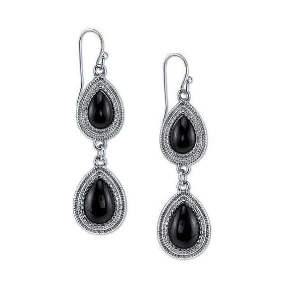 Silver-Tone Jet Double Pearshape Drop Earrings