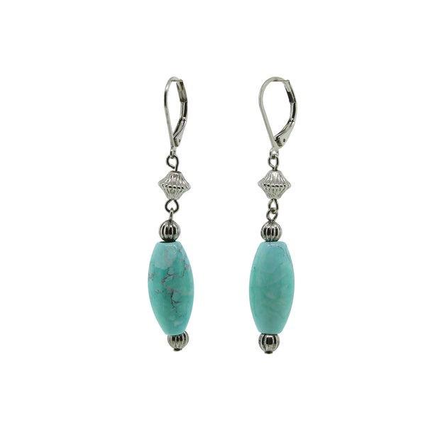 Silver Tone Genuine Stone Turquoise Oval Drop Earring