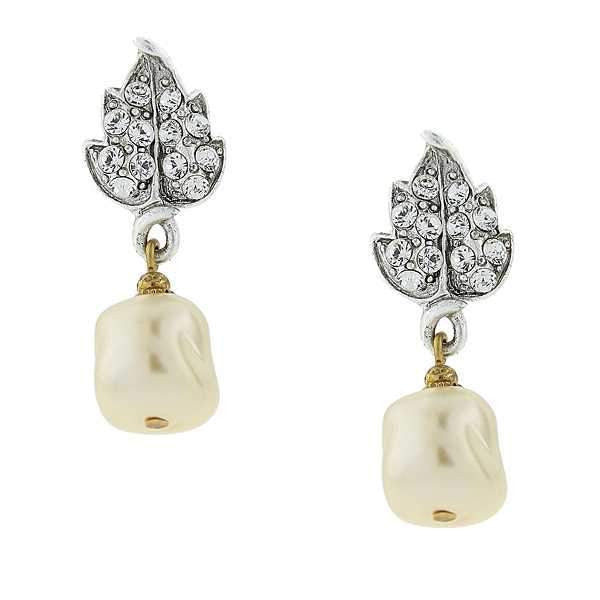 Silver Tone Crystal Leaf And Baroque Costume Pearl Drop Earring