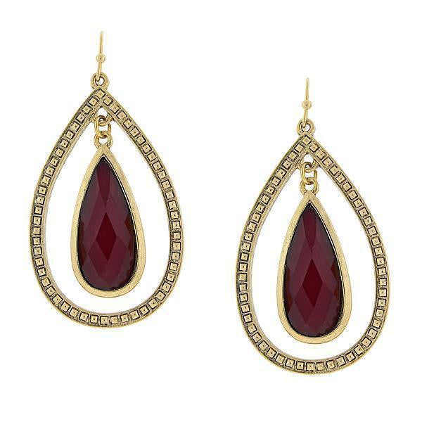 Gold Tone Burgundy Open Pearshape Hoop Earrings