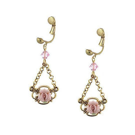 Gold-tone Pink Porcelain Rose Earrings