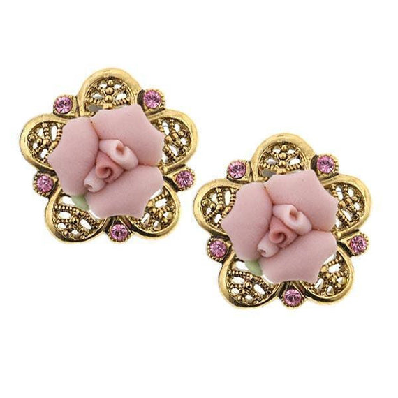 Gold-Tone Pink Crystal and Porcelain Rose Filigree Button Earrings