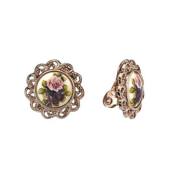 Manor House Rose Gold Tone Floral Decal Clip-On Earrings